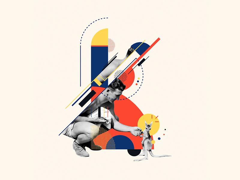 Bauhaus - K 36days2019 36days-k collageart collage kangaroo bauhaus100 bauhaus letter 36daysoftype design graphic 36 days of type iampommes typography pommes vector illustration