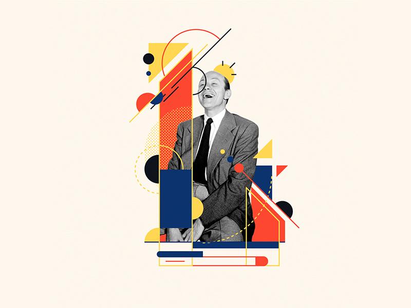 Bauhaus - L happy bauhaus100 bauhaus collageart collage lol laugh 36days-l 36daysoftype design graphic 36 days of type typography vector pommes illustration