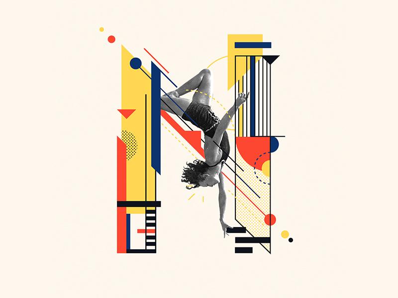 Bauhaus - N letter collageart collage bauhaus100 bauhaus 36days 36days-n 36daysoftype design graphic iampommes typography pommes vector illustration 36 days of type