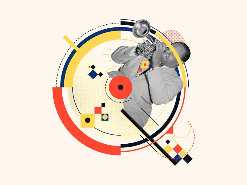 Bauhaus - Q trumpet abstract collage 36days-q music jazz bauhaus100 bauhaus design graphic 36 days of type iampommes typography pommes vector illustration