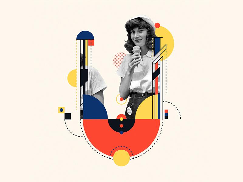 Bauhaus - U collageart collage icecream vintage alphabet bauhaus100 bauhaus 36days-u 36daysoftype design graphic 36 days of type mannheim iampommes typography pommes vector illustration