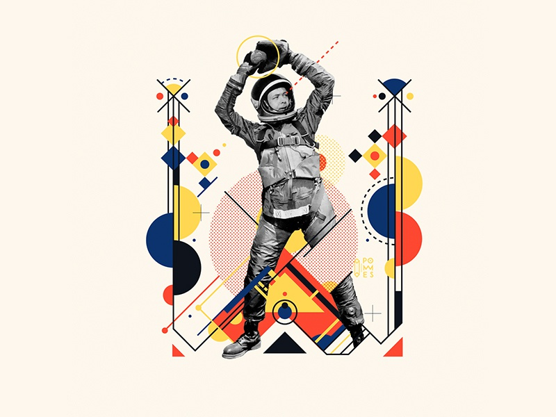 Bauhaus - W baseball abstract astronaut vintage collage bauhaus100 bauhaus 36daysoftype design graphic 36 days of type mannheim iampommes typography pommes vector illustration