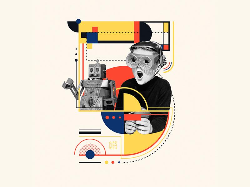 Bauhaus - 5 number5 36days-5 collage bauhaus100 bauhaus 36daysoftype design graphic 36 days of type mannheim iampommes typography pommes vector illustration