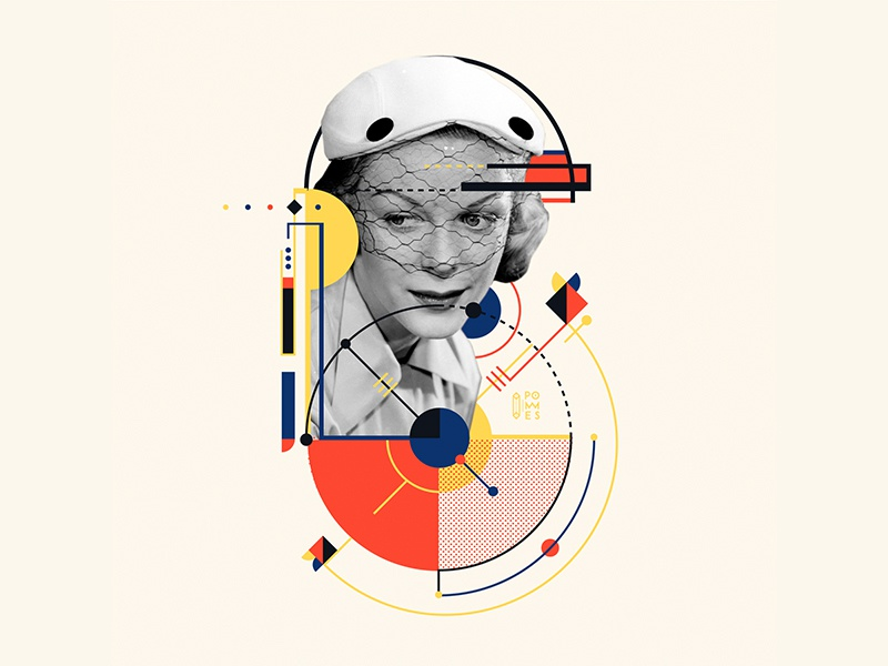 Bauhaus - 6 number abstract retro vintage bauhaus collage bauhaus100 letter 36daysoftype design graphic 36 days of type mannheim iampommes typography pommes vector illustration