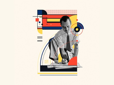 Bauhaus - 7 abstract collageart 36days-7 retro vintage collage bauhaus100 bauhaus 36daysoftype design graphic 36 days of type mannheim iampommes typography pommes vector illustration