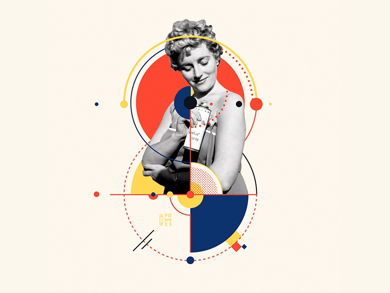 Bauhaus - 8 number 36days-8 collageart retro vintage collage bauhaus100 bauhaus 36daysoftype design graphic 36 days of type mannheim iampommes typography pommes vector illustration