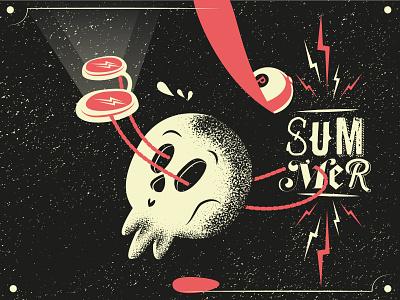 Summer illustrator mannheim dotwork blackwork cap sunglasses skulls skull art retro vintage true grit texture supply distressedunrest summer design typography iampommes illustration pommes vector skull