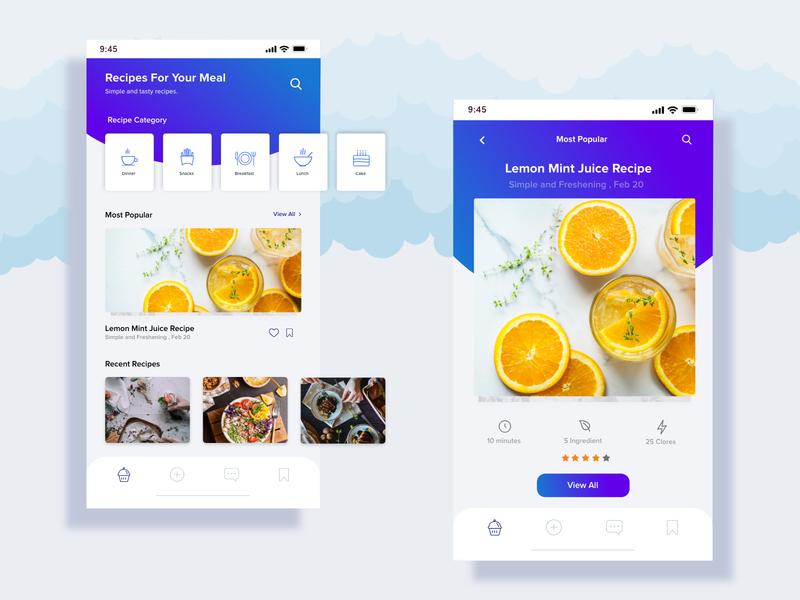 Recipes App interaction food bot dribble app recipes app vector website ui ux design