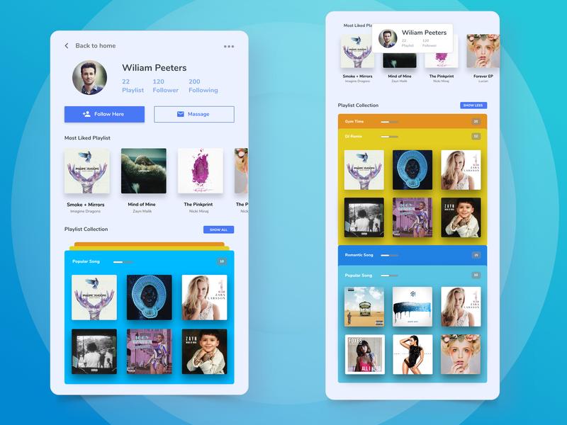 Playlist Collection flat iphone app mobile playlist collection clean user experience ux designe music app playlist music ux ui design