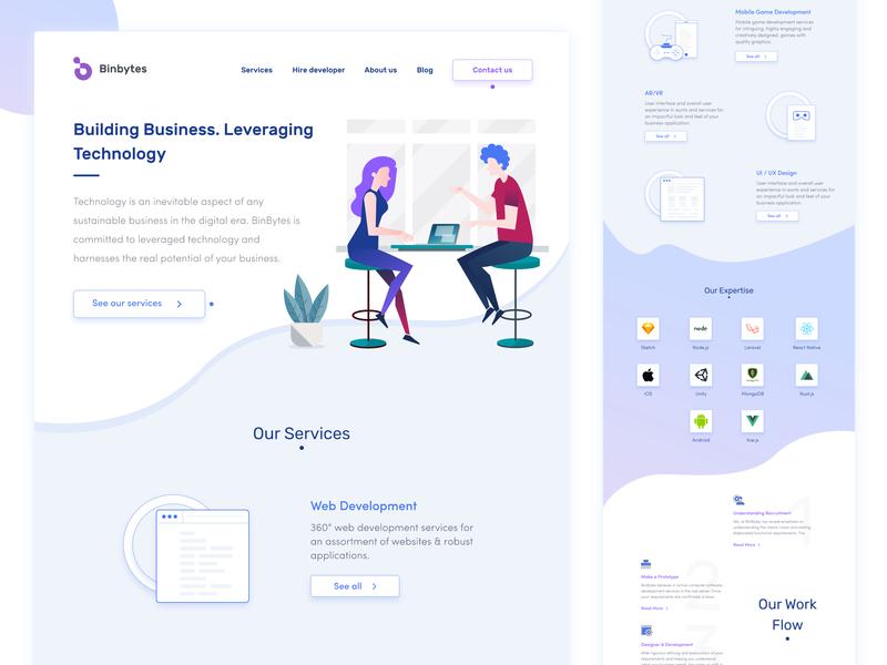 Landing Page  |  Binbytes Redesign branding agency user interface design user experience ux ux ui flet design web it redesign landing page design