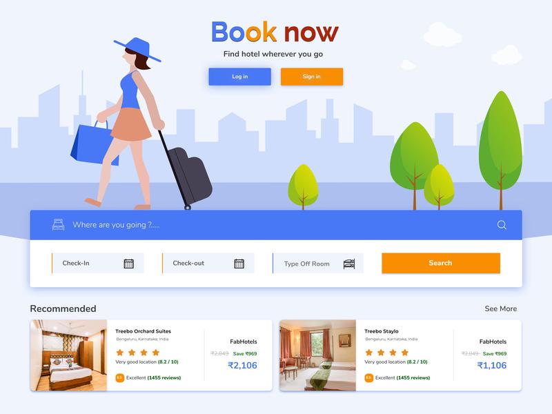Hotel Booking project flat online hotel booking vector website web ui ux design