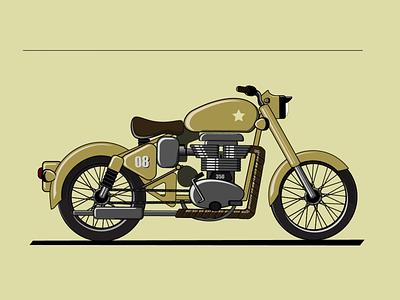 Royal Enfield Bullet dribbble dribble debut illustrator animation vector illustration design branding