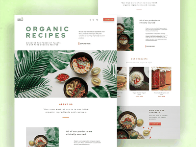 Organic Recipes home page design home page green vegan web designer food recipes organic healthy eating healthy food plant based modern branding logo web design creative graphic design user experience design uidesign uxdesign