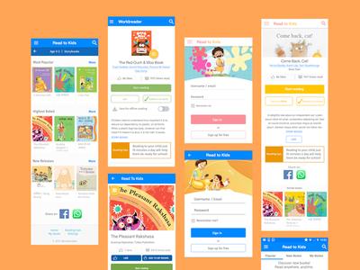 Children's app design user experience uxdesign uidesign readtokids india graphic design reading children books