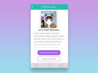 Concept design for a book reading app