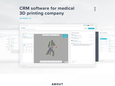 CRM software for medical 3D printing company illustration inoxoft case study crm dashboard crm software