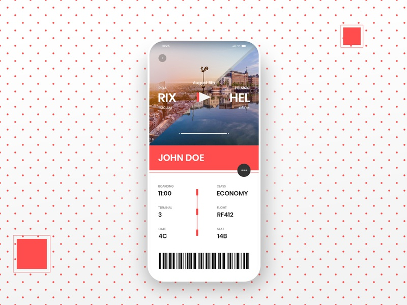 Boarding Pass Design - Daily UI 024 app mobile app helsinki riga red mobile airport boarding boarding pass daily ui dailyuichallenge adobe photoshop ui minimalistic typography modern dailyui illustration design