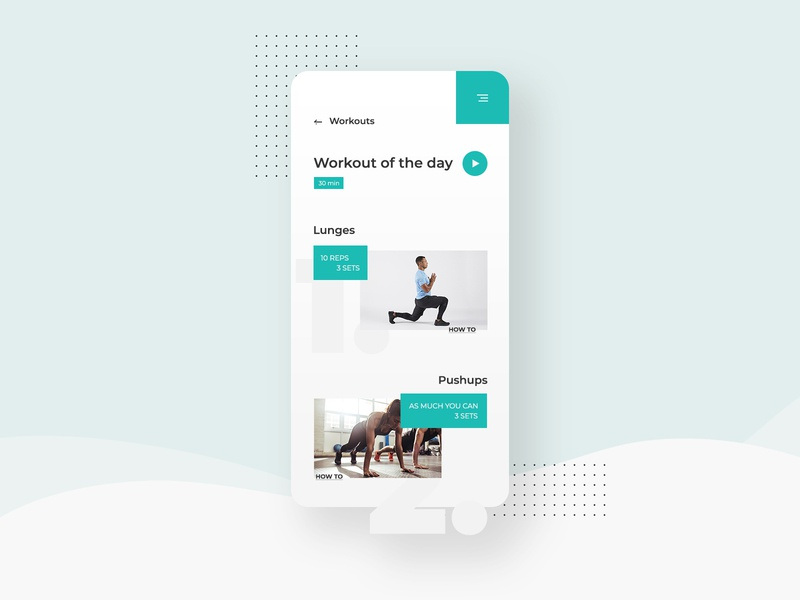 Workout of the Day UI Design | Daily UI 062 workout app workout of the day workout mobile web design daily ui dailyuichallenge adobe photoshop ui minimalistic modern dailyui design