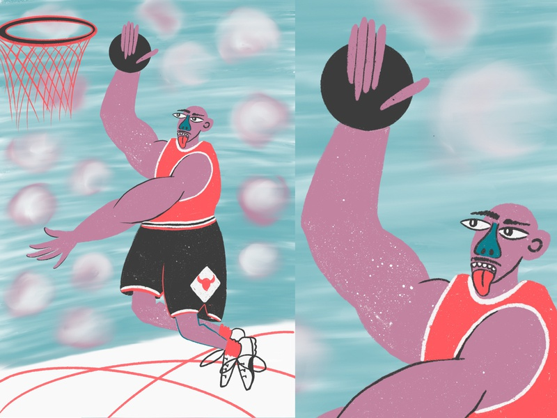 Hello Dribbble! person jordan design basketball colors illustration