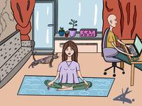 Life rroutine yoga lifestyle comic art girl person illustration design colors