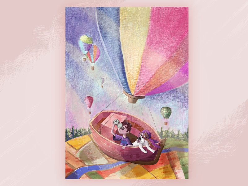 Flying Balloon children art book character cartoon illustration dog digital painting digital art childrens book children