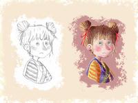 Girl - children book Illustration girl drawing book children art character cartoon illustration digital painting digital art childrens book children