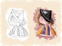 Pirate Girl / Children book illustration smile skull hat girl drawing photoshop book children art character cartoon illustration digital painting digital art childrens book children