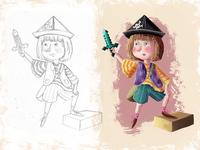 Pirate Girl - children book Illustration sword girl pirate drawing photoshop book children art character cartoon illustration digital painting digital art childrens book children