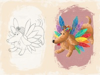 Doggy - Children book illustration fun hat wings feathers colorful sketch drawing dog photoshop book digital art children art character cartoon illustration digital painting childrens book children