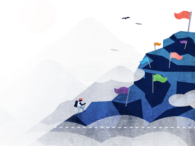 Case Study Illustrations good times climbing mountain illustration case study