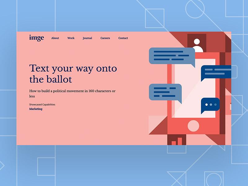 Case Study Illustration branding design landing page hero image hero pattern vector iphone texting illustration website