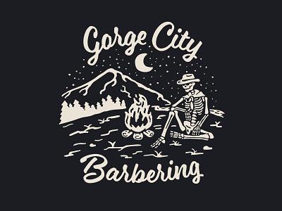 Gorge City Barbering - T-Shirt barbershop branding skeleton cowboy design shirt illustration