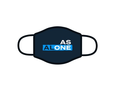 Alone As One print swag grunge typography branding logo design covid mask