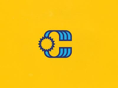 C + Sun + Waterfall sioux falls grunge vintage branding logo draplin retro vector line blue yellow sun icon waterfall c