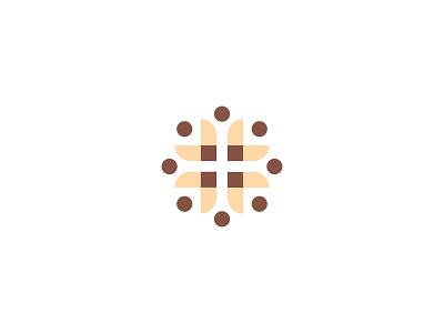 Medical Cross + Leaves + People rural leaf leaves vector icon medical cross people flower branding logo hospital