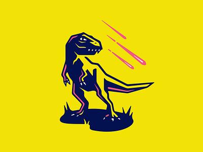 The King character cartoon vintage retro design logo branding vector meteor illustration dinosaur t rex