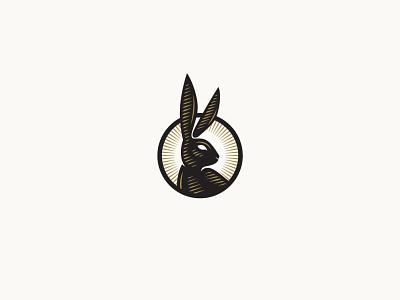 Anotha Wabbit retro illustration seal engraving bunny rabbit icon logo branding vector