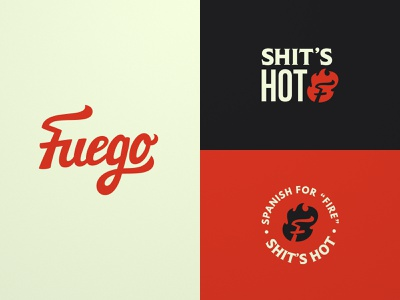 Fuego Redux sauce vector cartoon typography design branding retro seal script lettering grunge logo spanish hot fire