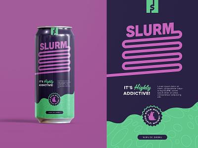 Dribbble Warmup - Slurm Can Mockup seal soda beer illustration retro design futurama cartoon rebrand logo typography layout vector print packaging branding