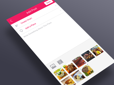 App UI : Add post input app gui ux ui ios android mobile photo post add