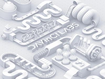 DAVinCI LABS : The Process cover advertisement pr 3d concept art illustration white davinci labs factory