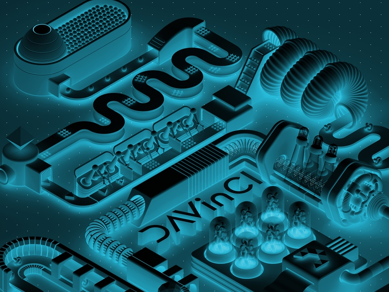 DAVinCI processes poster commercial art blue davinci 3d