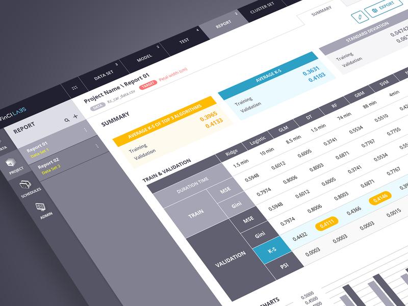DAVinCI LABS GUI V1.9 : Report/Filter webdesign machine learning davinci labs ai design gui ui