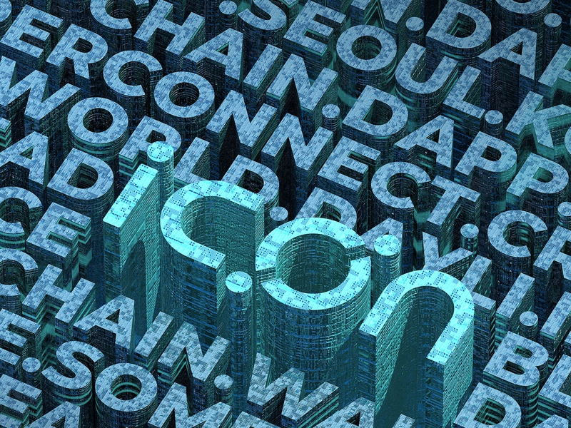 ICON: Word Cloud City blockchain commercial art 3d illustration poster cryptocurrency icon