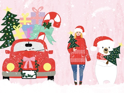 Winter Wonderland red car snow winter party winter illustration polar bear christmas art christmas illustration christmas tree christmas