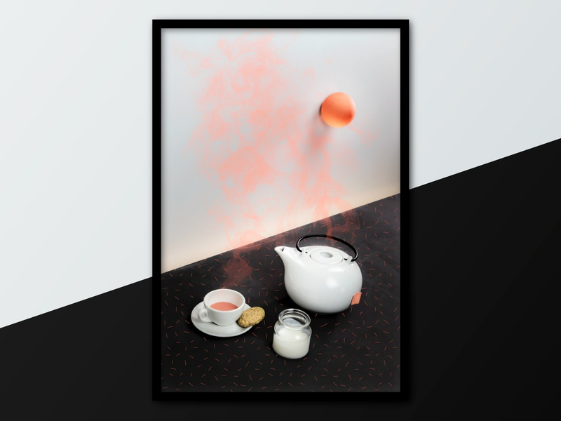 Caffè Verdi | Photography | TEA TIME surreal minimal smoke painting design art artwork art breakfast set design still life design graphic lightroom photoshop photoediting photography