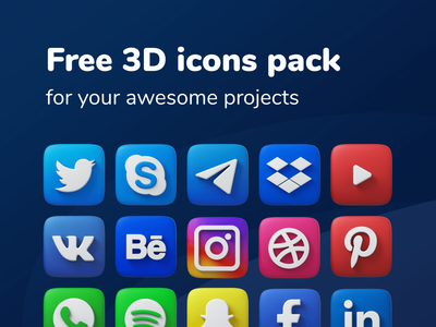Free 3D icons pack with social media networks youtube twitter behance vk telegram facebook infographic business concept graphic media symbol illustration vector design social set pack icon 3d