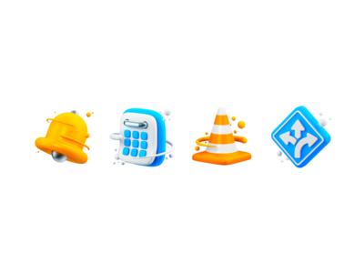 Notification 3D icons alexa time alarm notification calendar balls direction road vlc dong ring alert ui asset 3d art set pack icon graphic 3d