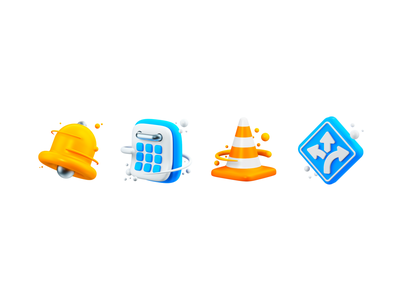 Notification 3D icons alexa time alarm notification calendar balls direction road vlc dong ring alert ui asset 3d art set pack icon graphic 3d