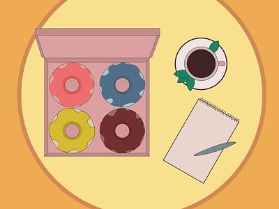 Donuts design кофе вкусно пончики еда vector illustration